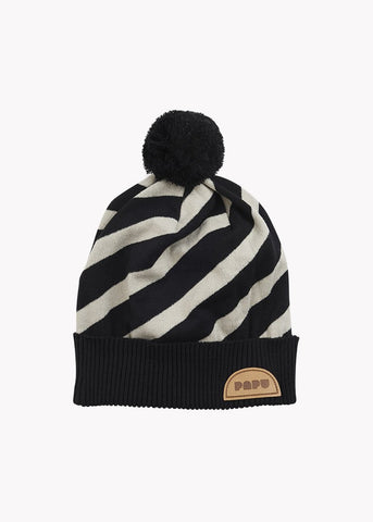 STRIPE BEANIE, Black/Silent Grey