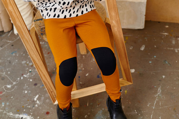 PATCH LEGGINGS, Earth Brown/Black