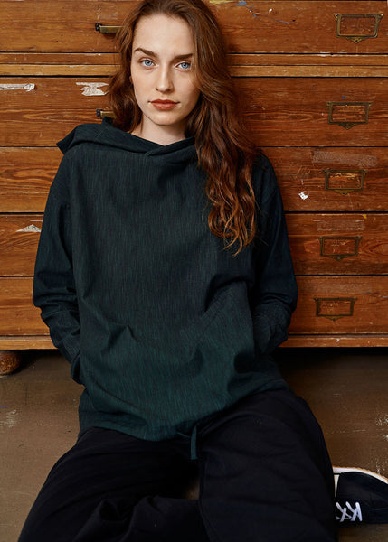 PIVOT HOODIE, School Green, Tweed Effect, Women