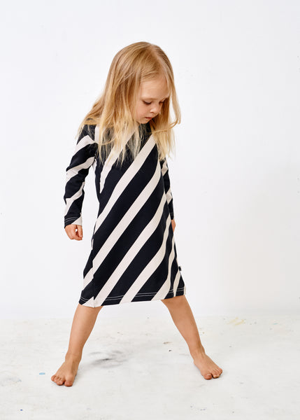 MELLOW DRESS, Huge Stripe, Black/Canvas Grey