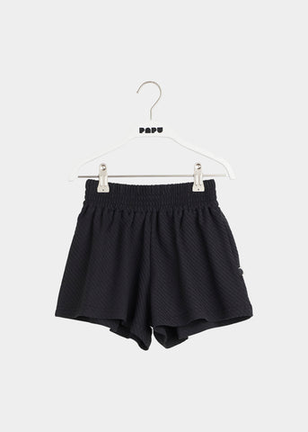 WIDE SHORTS, Black, Diagonal Rib