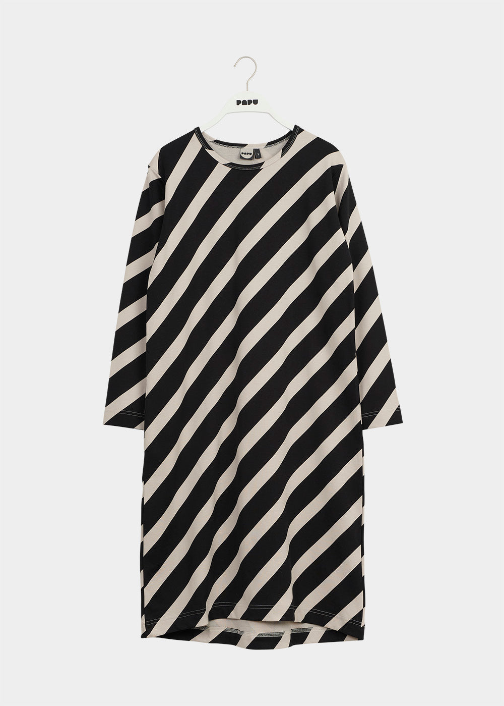 MELLOW DRESS, Huge Stripe, Black/Canvas Grey, Women