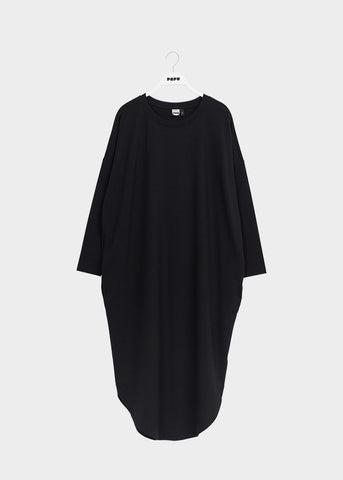ROUND HEM DRESS, Black, Lyocell, Adults