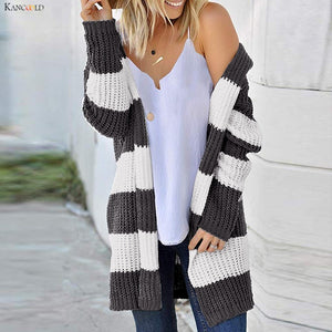 KANCOOLD coats Women Striped Printed Long-Sleeved Cardigan Loose Knit Sweater Jacket fashion coat and jackets women 2019Oct30