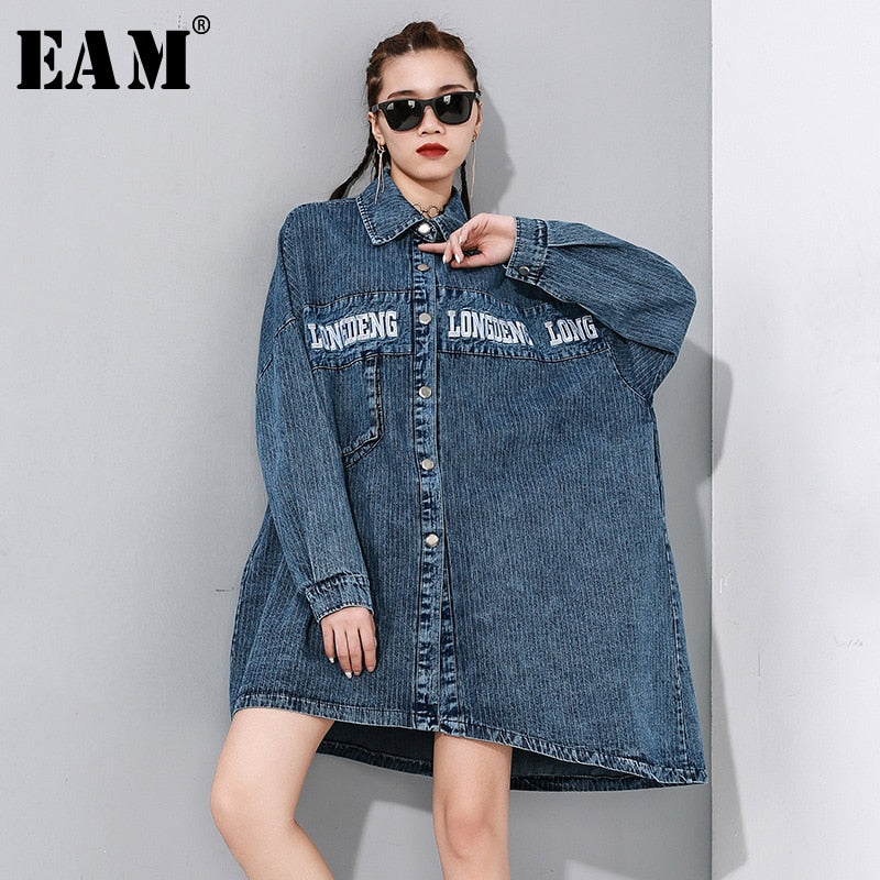 [EAM] Loose Fit Letter Print Denim Big Size Asymmetrical Jacket New Lapel Long Sleeve Women Coat Fashion Tide Spring 2020 1N890