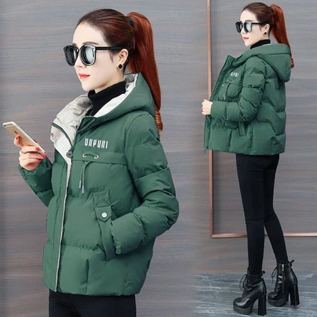 2020 New Winter Jacket Women Parkas Hooded Thick Down Cotton Padded Parka Female Jacket Short Coat Slim Warm Outwear P772