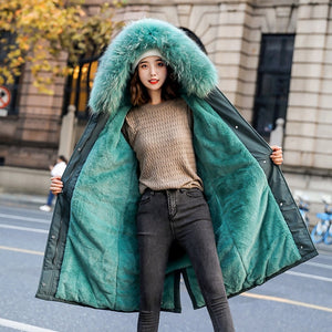 Fashion Long Cotton Liner Hooded Parka Women Slim With Fur Collar Warm Winter Jacket Coat 2020 New