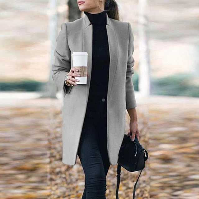 Woolens Overcoats Women Autumn Winter Stand Neck Long Sleeve Pockets Thin Wool Coats Casual Female Office Work Jackets Plus Size