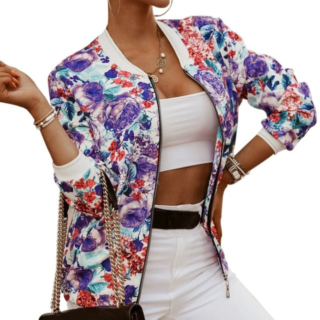 New Jacket Women Autumn Long Sleeve Vintage Floral Coat Women Casual O Neck Zipper Bomber Jackets Ladies Outwear Veste Femme