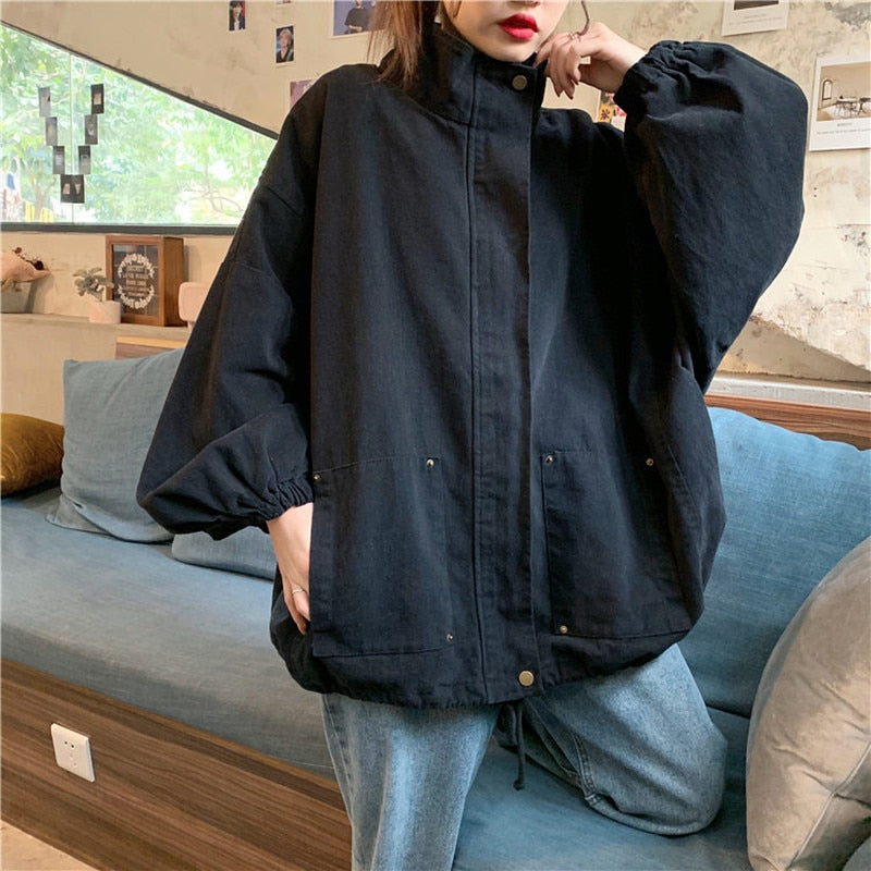 oversized streetwear Jackets Women Solid Loose Turn-down Collar Plus Size Daily Coats Style Sun-proof Harajuku All-match