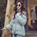 2020 Women's Jacket Streetwear Cotton Padded Winter Warm Coat Female Black Parkas with Sashes Korean Style Woman Clothing