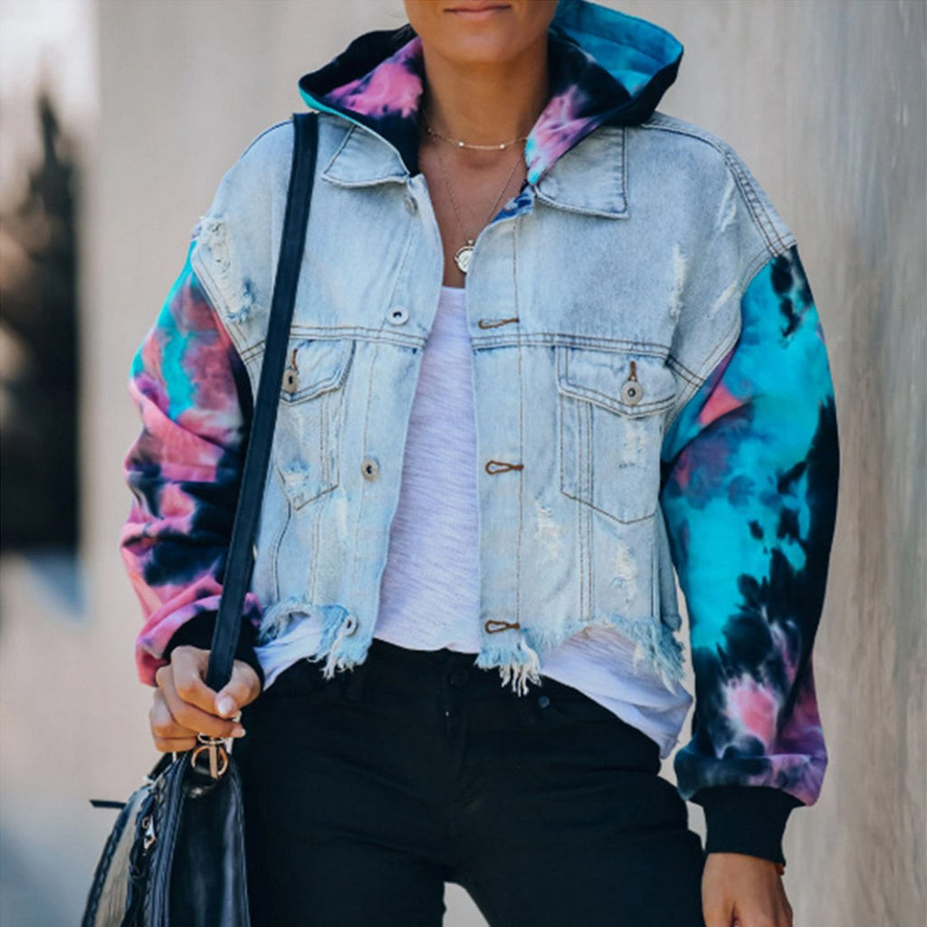 Jean Jacket Women Loose Casual Blue Women Hoodies Coats Tie Dye Sleeve Patchwork Hoodied Denim Coats Female outwear