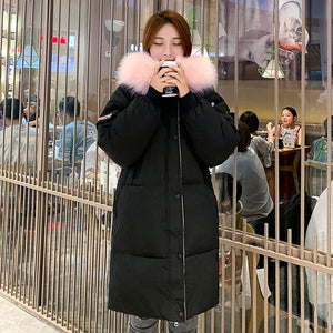 Women's Winter Coat Thick Hooded Long Jacket Women Korean Style Loose With Fur Collar Letter Print Cotton Padded Parkas Female