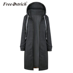 Free Ostrich Sweatshirt Women Warm Coat Zipper Long Jacket Tops Hoodies Outwear Women Clothes Dropshipping De18