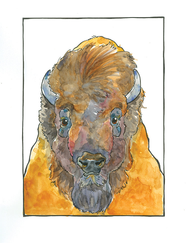 Bob Bison Matted Art Print