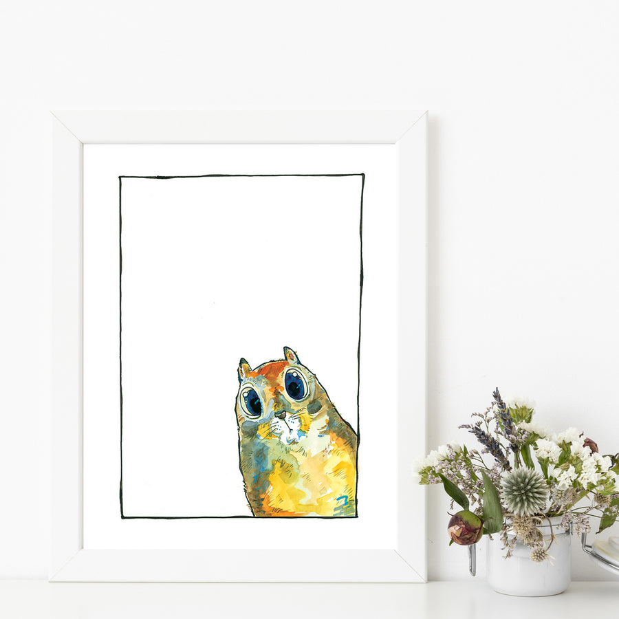 George Ground Squirrel Matted Art Print