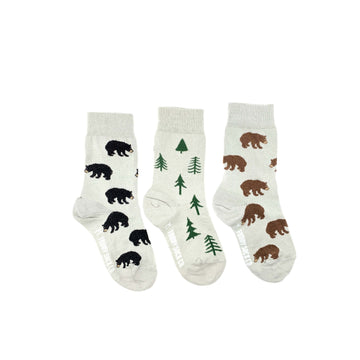 Bears + Trees Mismatched Kids Socks