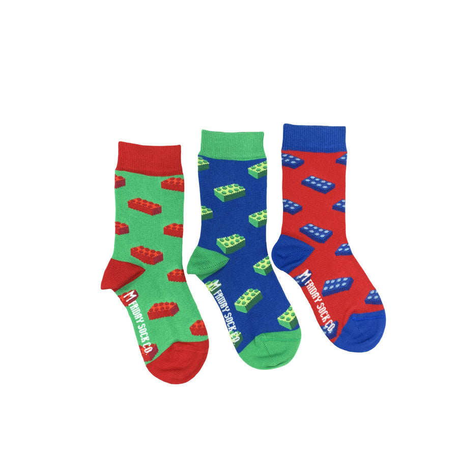 Building Block Mismatched Kids Socks
