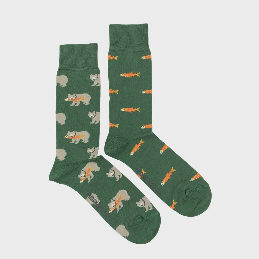 Men's Bear & Salmon Socks
