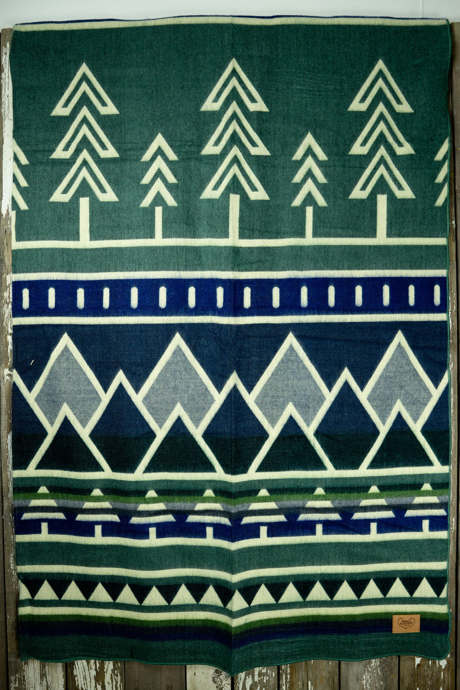 Colorado Blue Tree Line Heartprint Queen Blanket