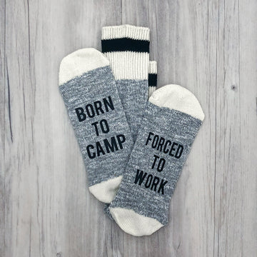 Born to Camp Forced to Work Men's Socks