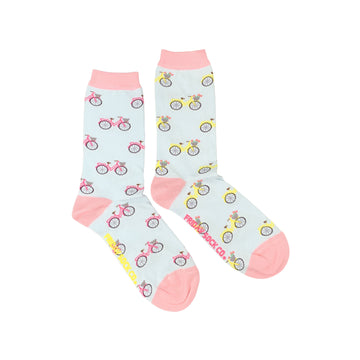 Women's Pink & Yellow Bicycle Socks