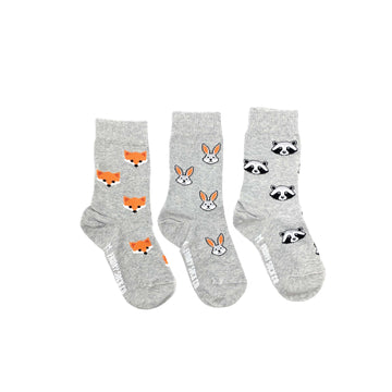 Forest Animal Mismatched Kids Socks