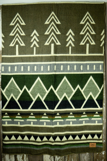 Ponderosa Tree Line Heartprint Queen Blanket