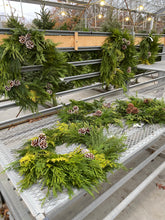 Load image into Gallery viewer, Mixed Greens Wreath with Pine Cones