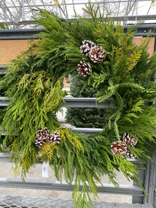 Mixed Greens Wreath with Pine Cones