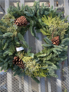 Noble Fir Wreaths with Mixed Greens and Pine Cones