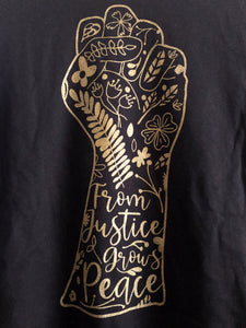 From Justice Grows Peace Black T-Shirt