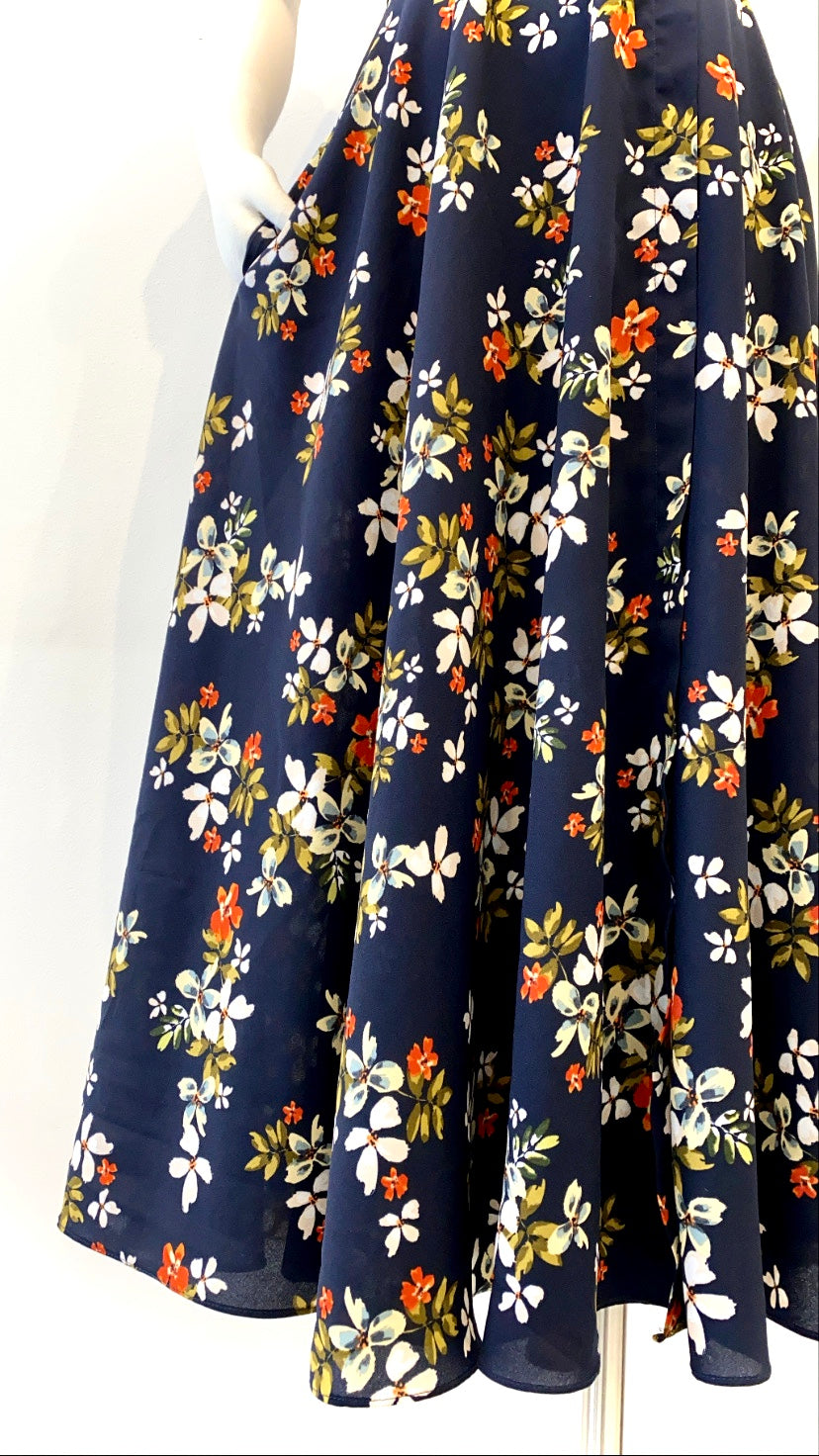 Jill Stuart - Navy Floral Printed Dress with Ruffled Neck and Belt