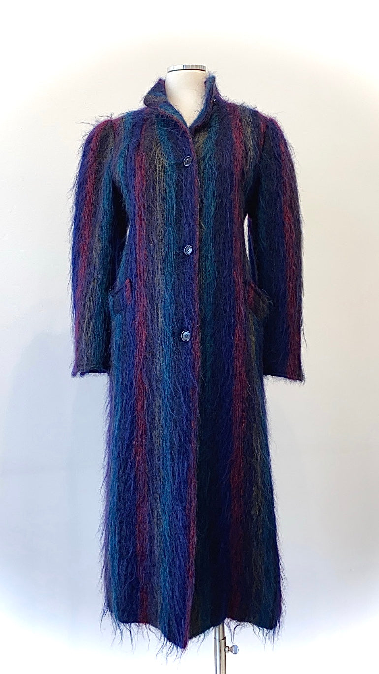Oscar de la Renta - Super Soft Striped Mohair Multi-Color Coat