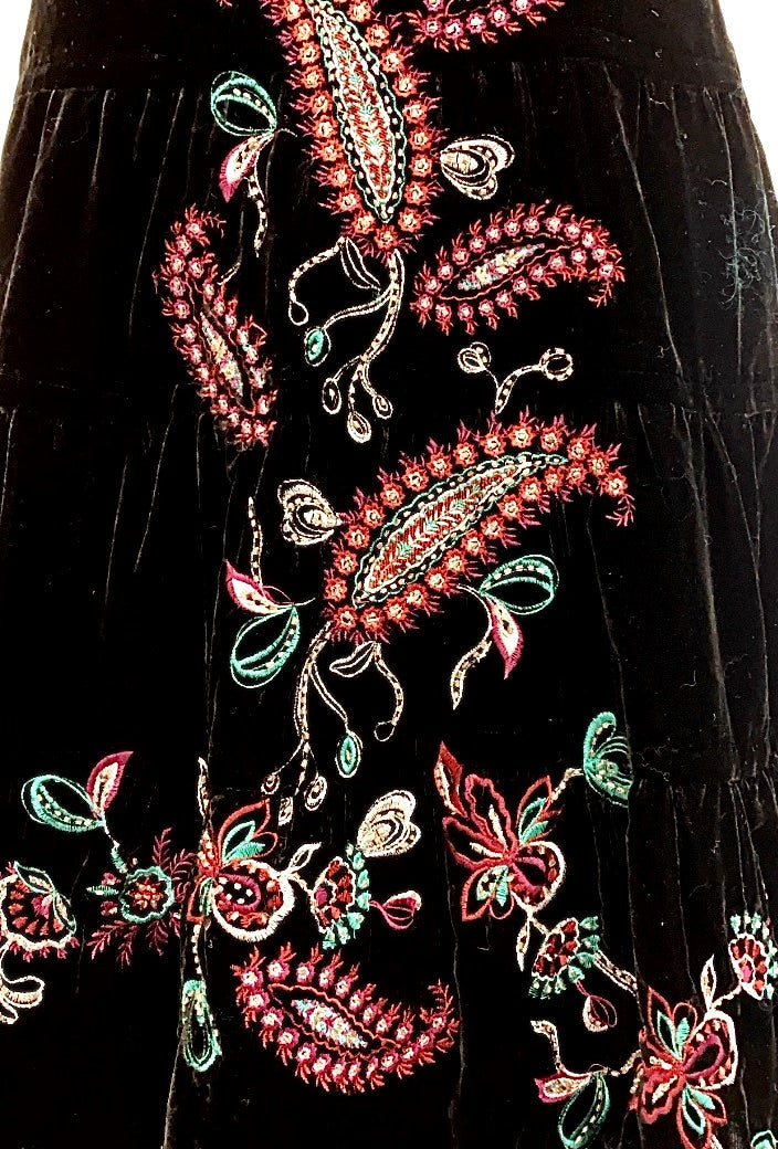 Vintage - Velvet Embroidered and Embroidered Tiered Skirt