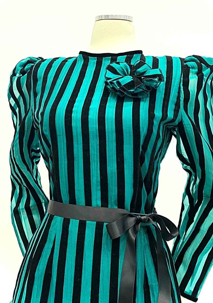 Vintage - Velvet and Organza Striped Tiered Skirt and Blouse Set
