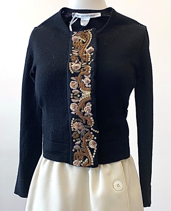 Diane Von Furstenberg - Soft Wool Sweater with Intricately Embellished Tab