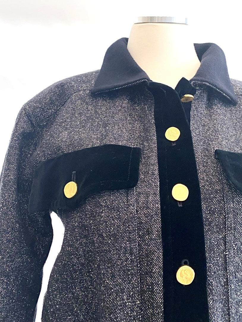 Vintage - Tweed Bomber Jacket with Velvet Trim
