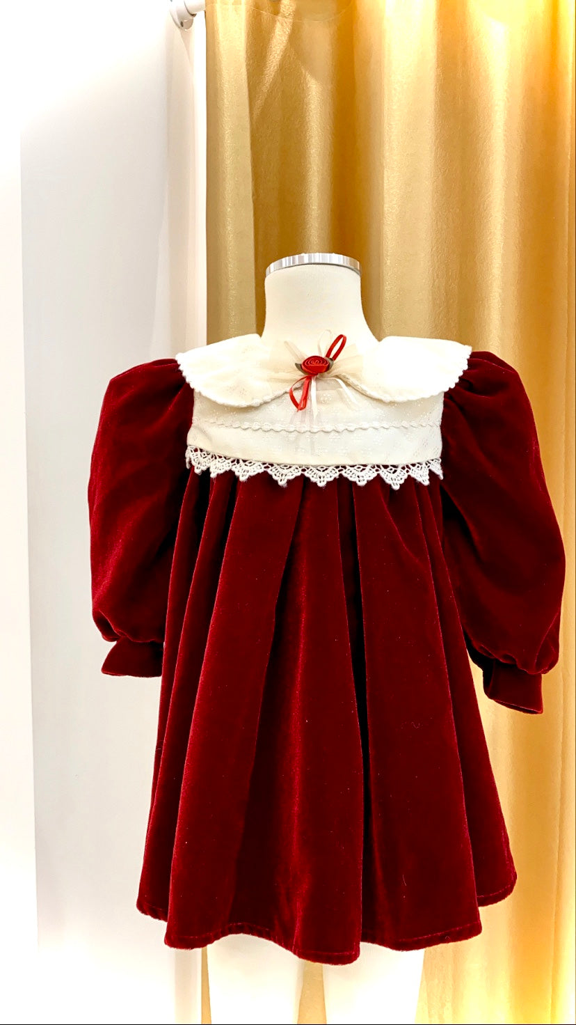Girls - Vintage - Plush Velvet Dress with Balloon Sleeves and Satin Collar and Yoke - Size 2