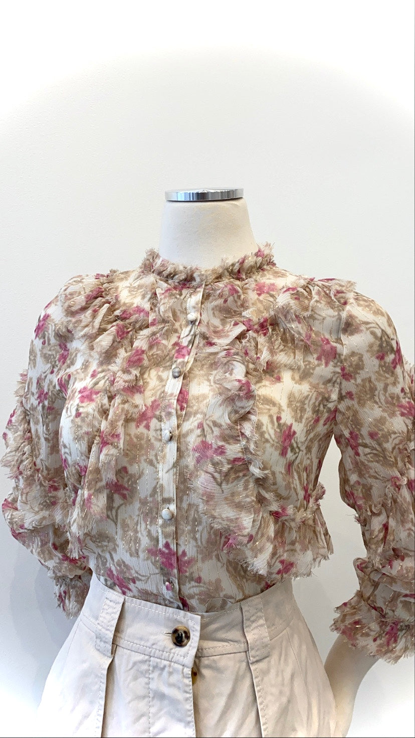 Love Shack Fancy - Chiffon Floral Ruffled Blouse with Metallic Stripes
