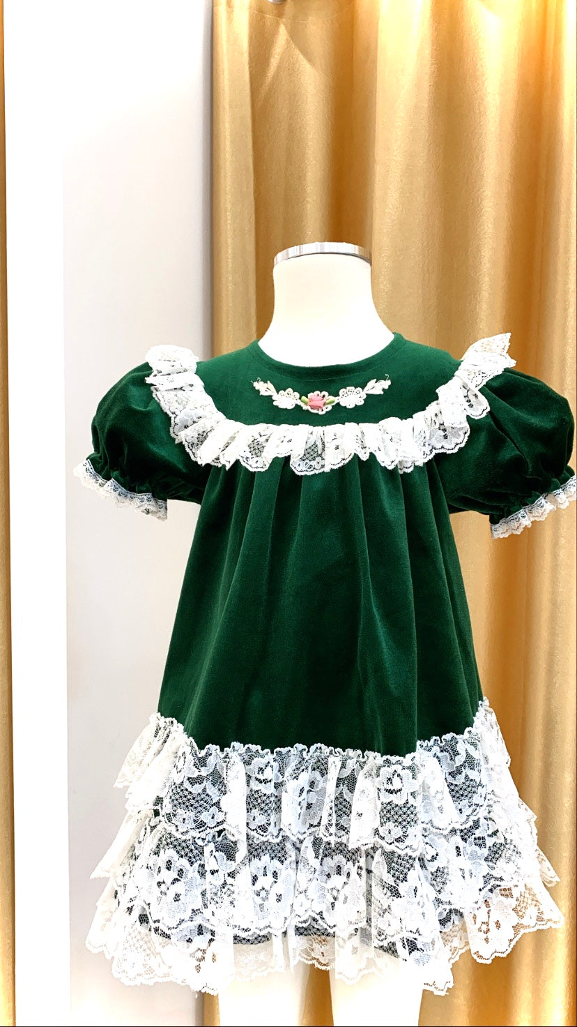 Girls - Vintage - Velvet and lace Ruffle Dress - Size 2-3