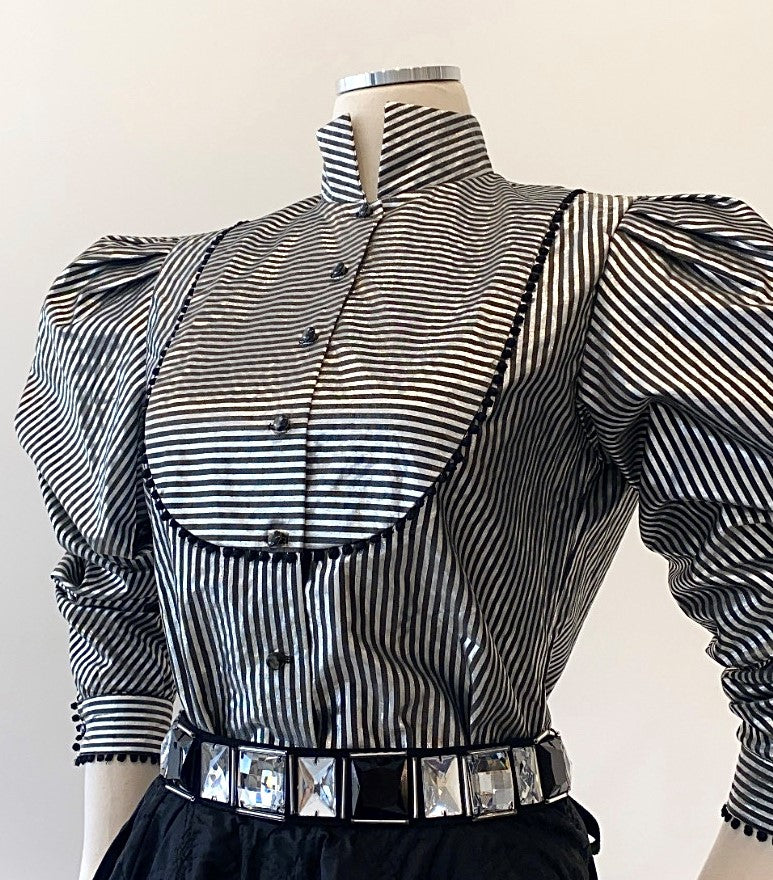 Vintage -Metallic Striped Blouse