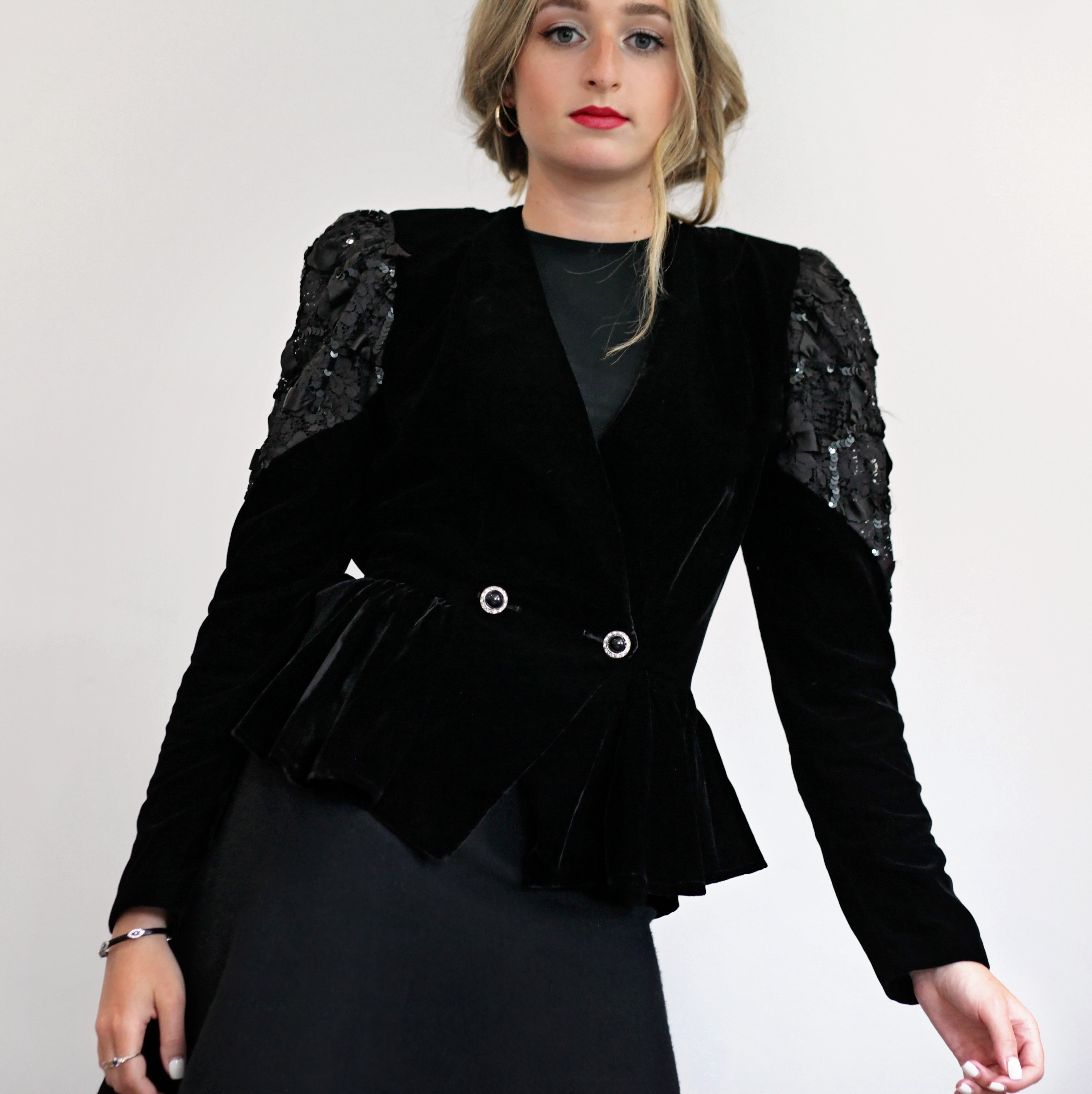 Vintage - Velvet & Lace Jacket with Peplum and Back Train