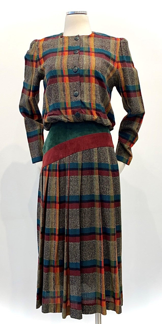 Vintage - Plaid Waist Dress with Suede Cummerbund