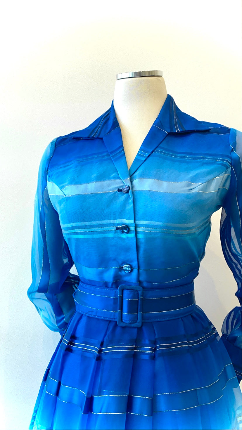 Vintage - Organza Striped Gown with Collar and Belt