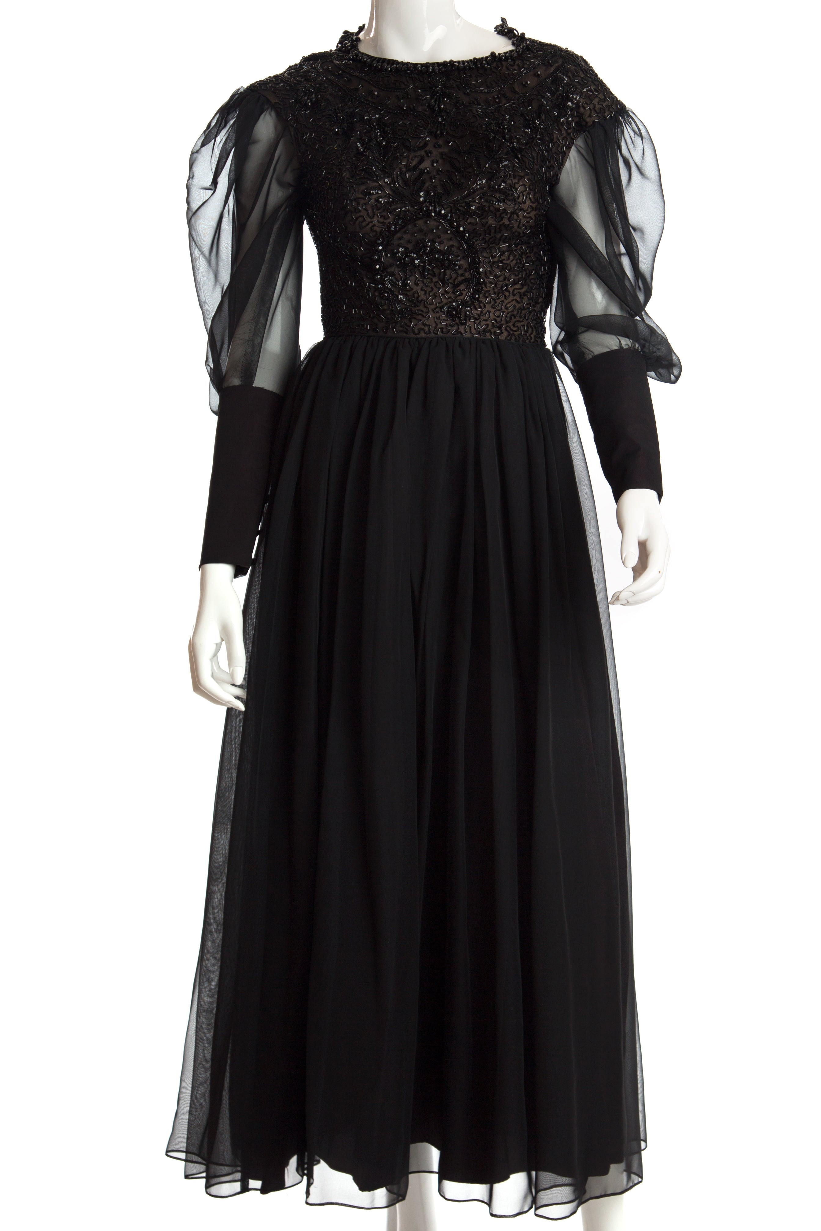 Vintage - Chiffon Evening Gown with Heavily Beaded Bodice