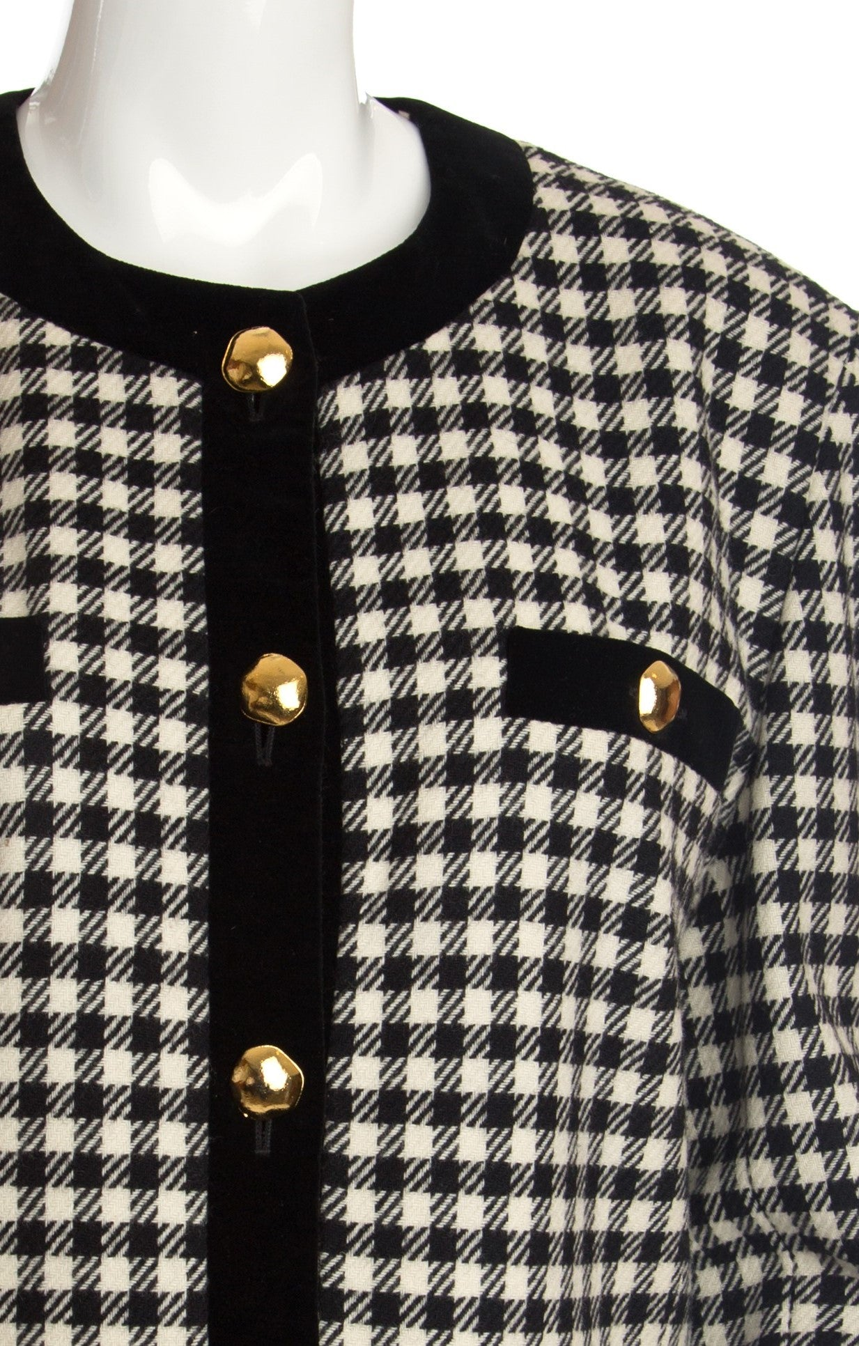 Escada - Wool Checked Cropped Jacket with Velvet Trim