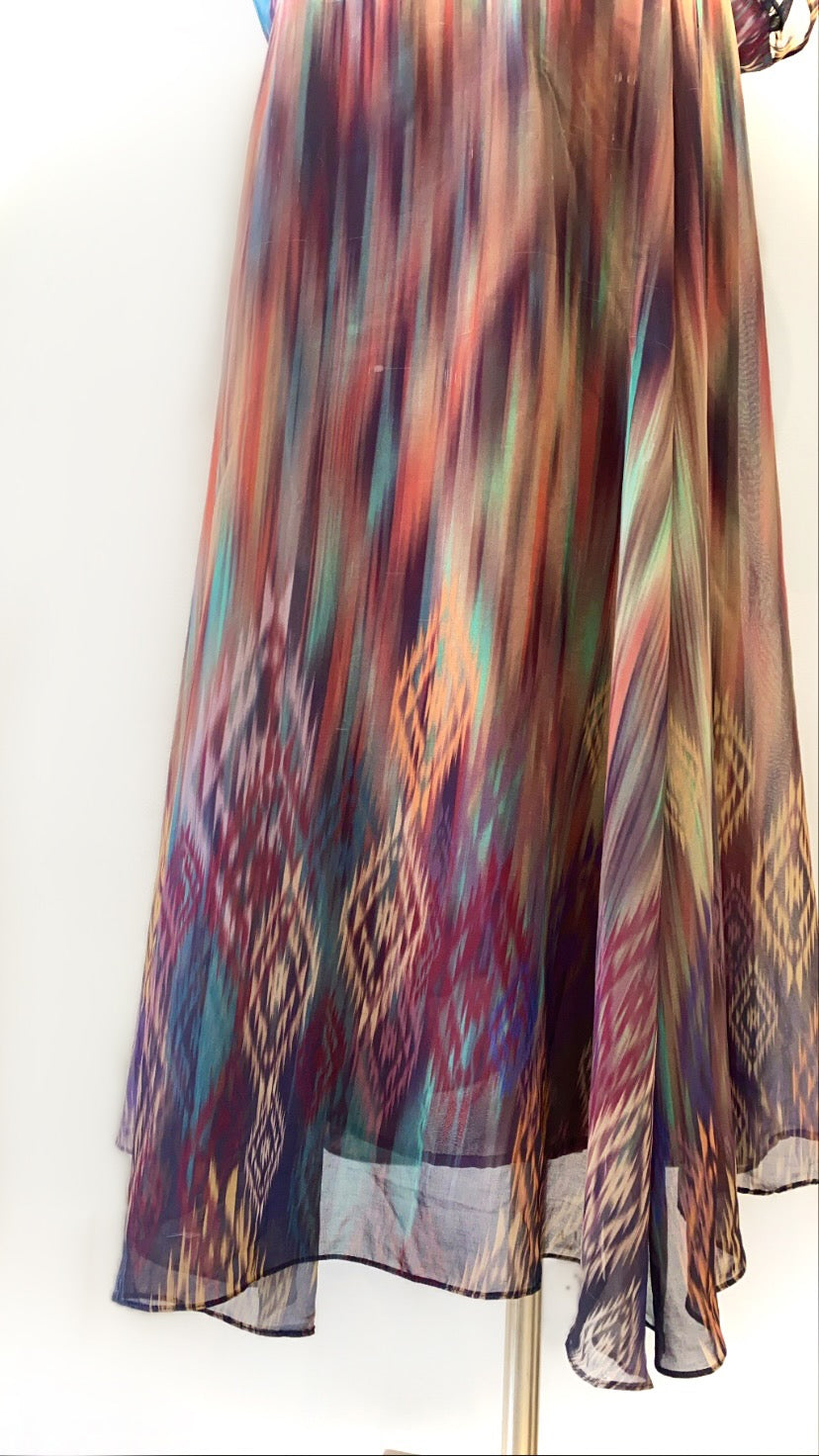 Vintage - Multicolored Abstract Print Sheer Maxi Dress