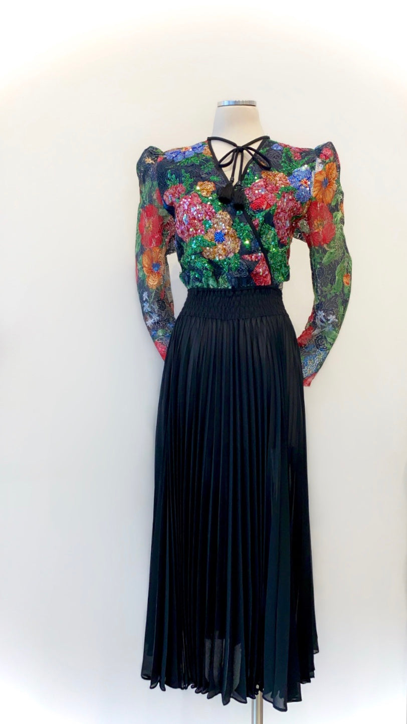 Vintage - Diane Freis Dress with Pleated Skirt and Sequined Lace Floral Top