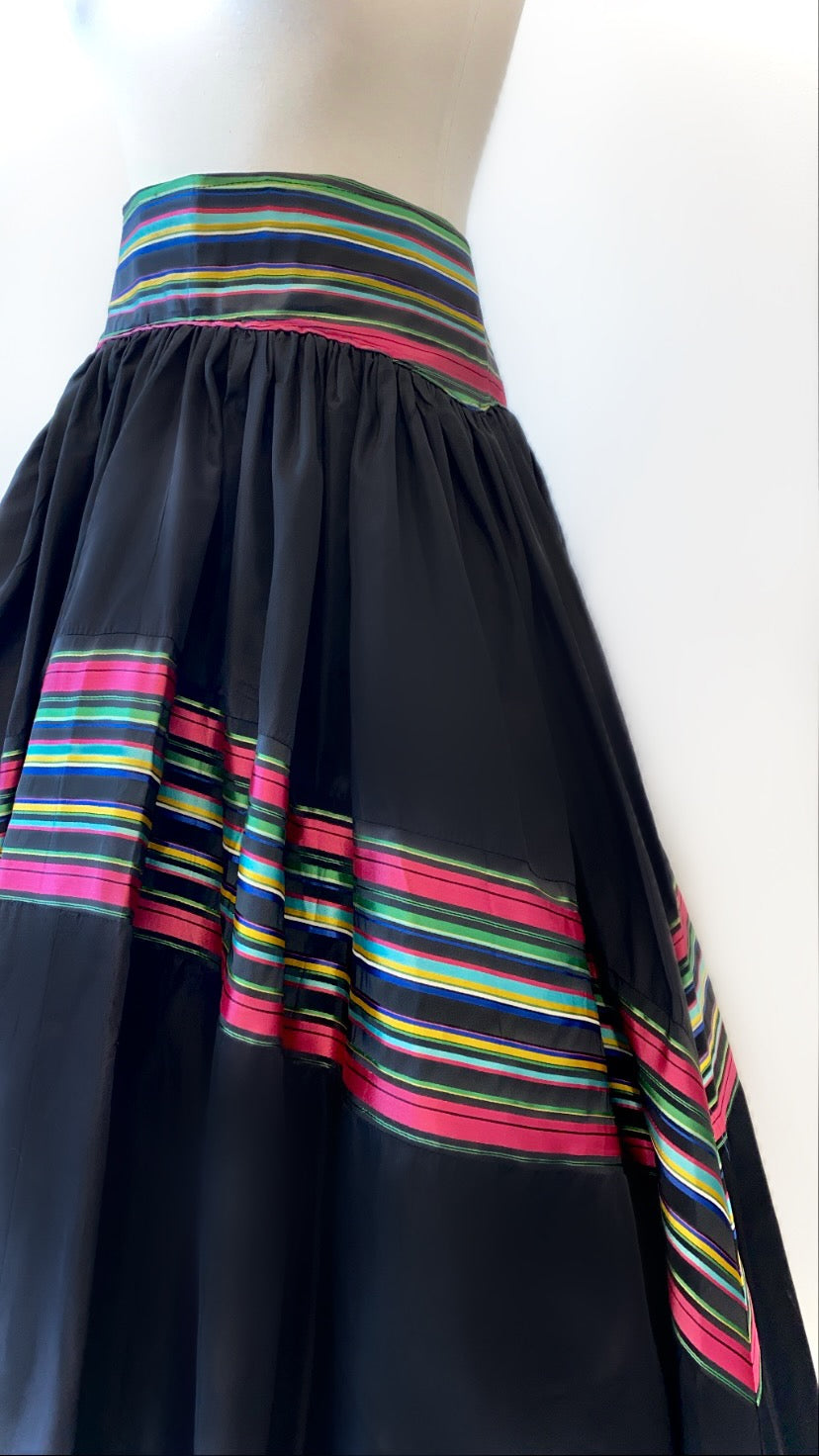 Vintage - Taffeta Maxi Skirt with Striped Waistband and Insert